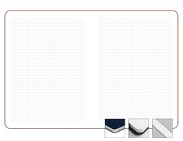 Записная книжка 9x13 см Freenote в клетку, серебряный обрез